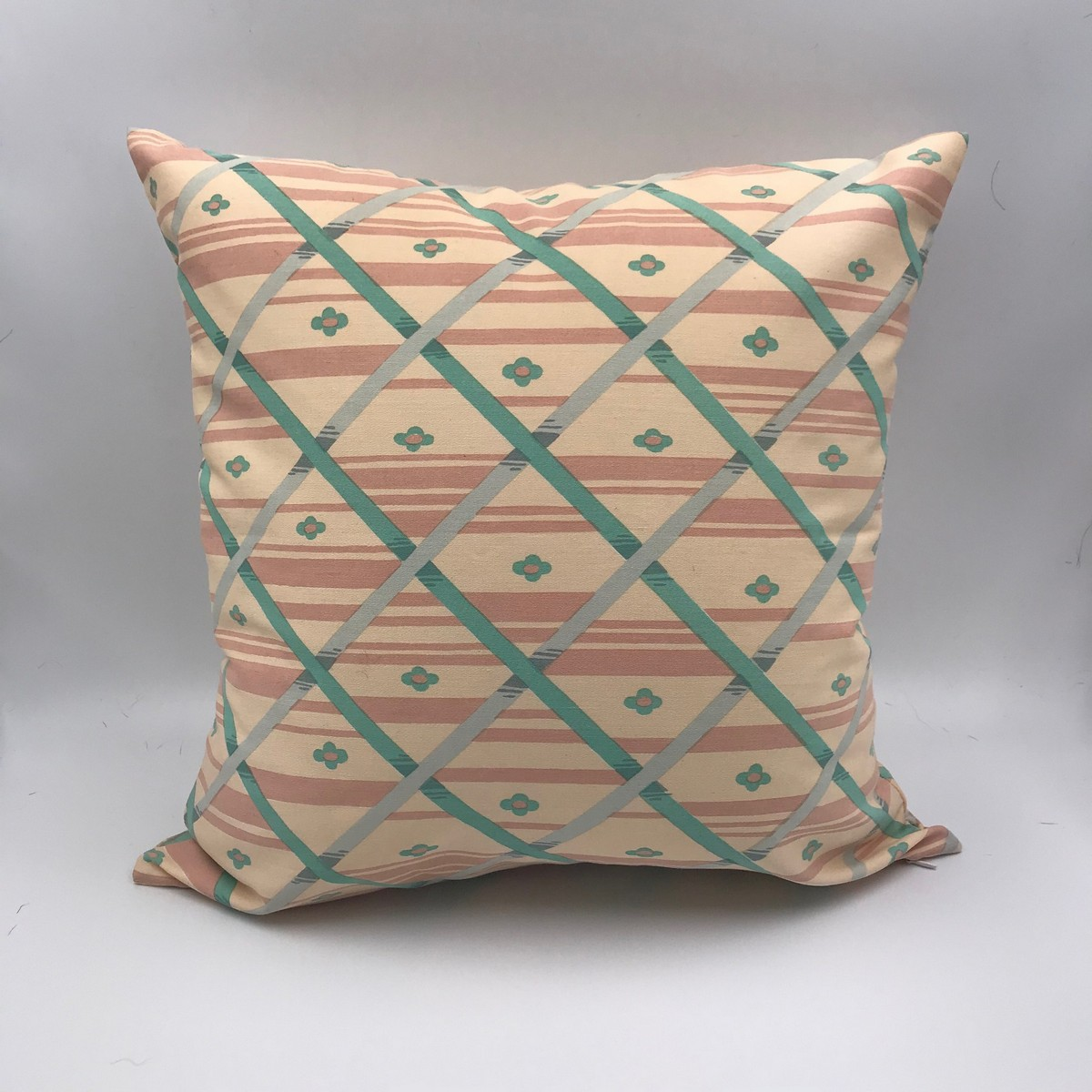 Buy Handmade square pillow vintage style, Сotton craftsman's style 60s pillow, Hand made decorative pillow for home