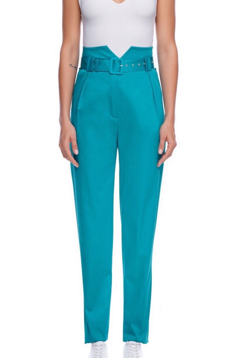 Buy High Waist Belt Cotton Pants, Blue Casual Women Designer Tapered Bottoms Trousers