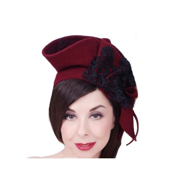 Buy Retro felt veil evening elegant hat, classic women unique design hat