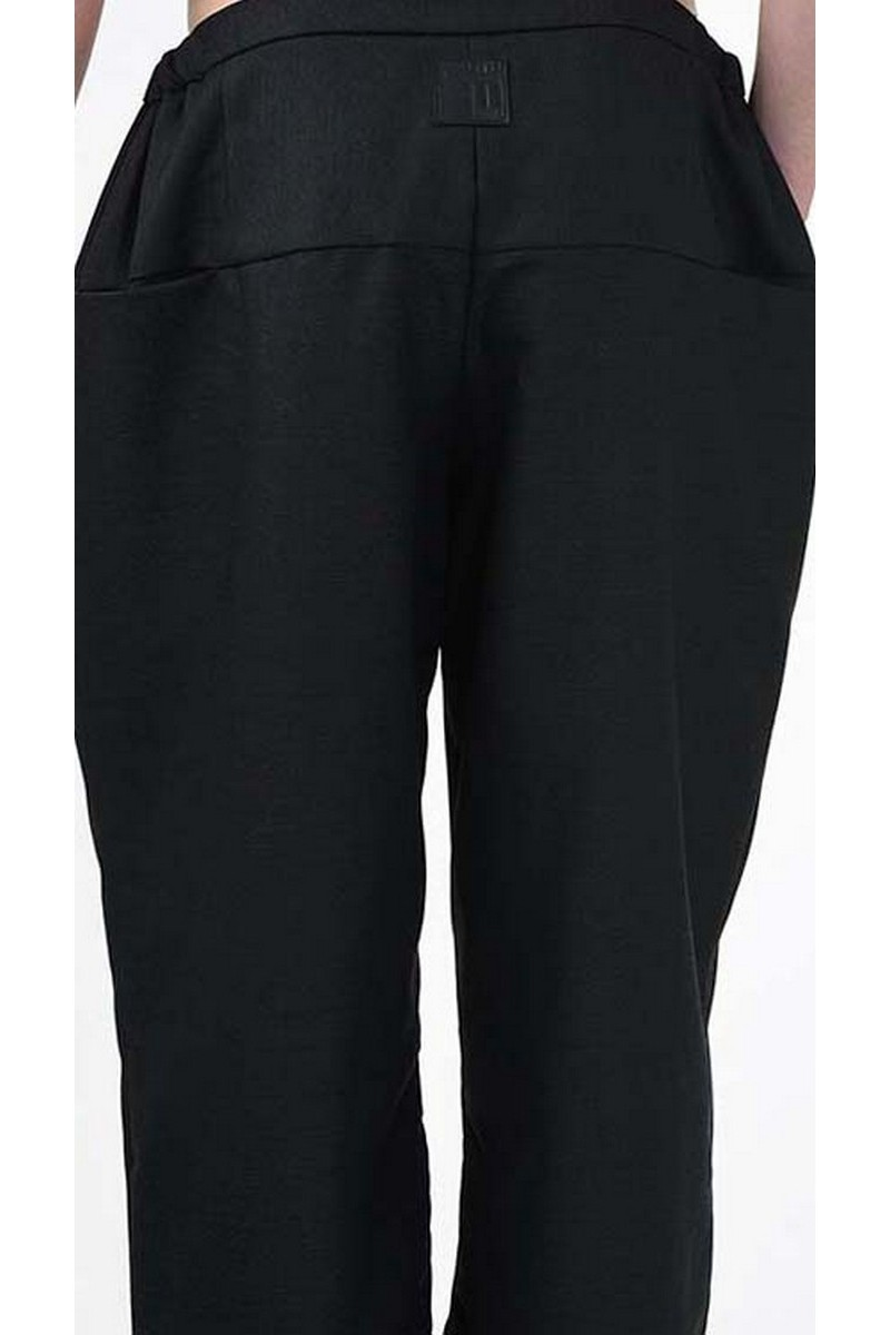 Warm soft wool black trousers, cropped stylish pockets men`s casula party club trousers