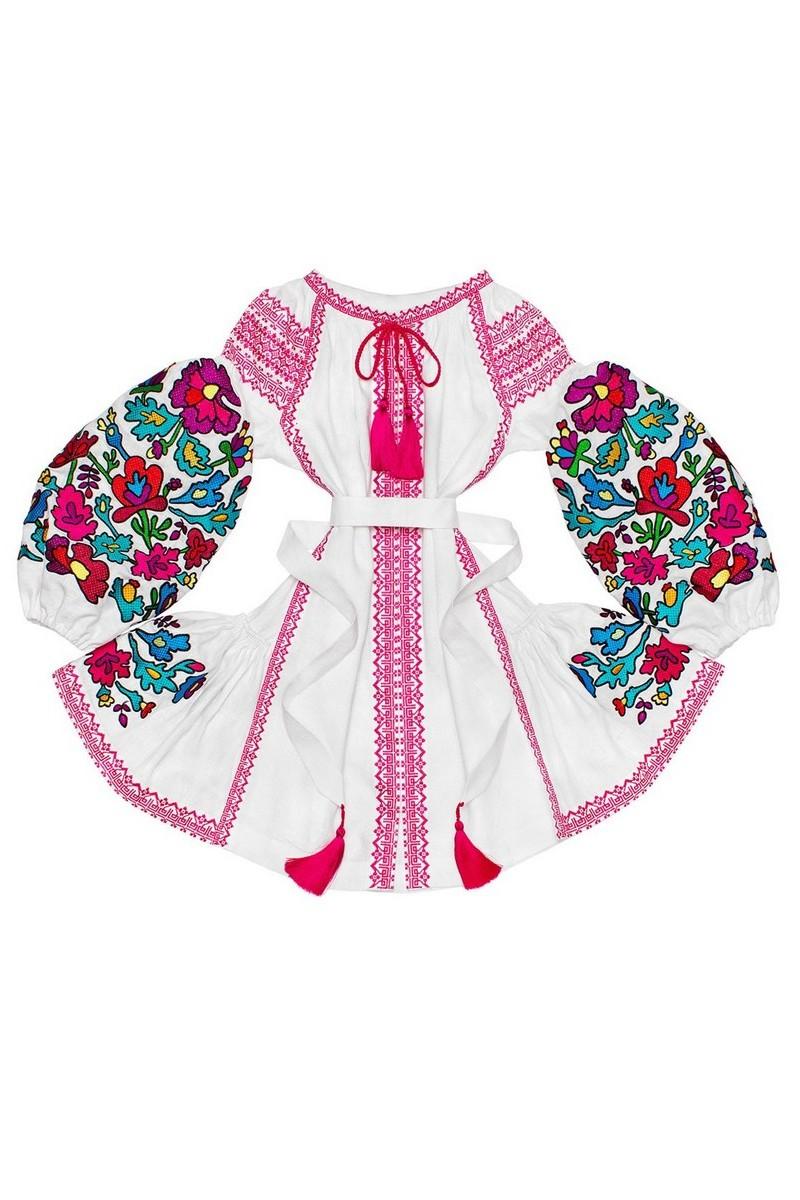 Buy Short white ukrainian linen ethnic ornament unique designer embroidered dress