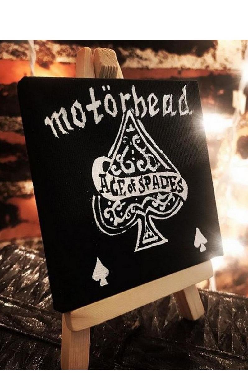 Buy Motorhead black&white mini canvas, rocknroll painting, modern acrylic painting