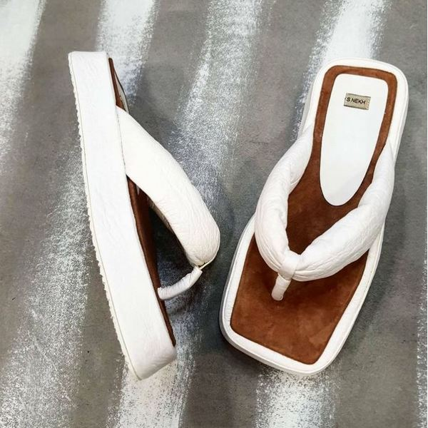 Buy Women's White Leather Lightweight Comfort Flat Thong Flip Flop Sum Summer Square Toe Sandals