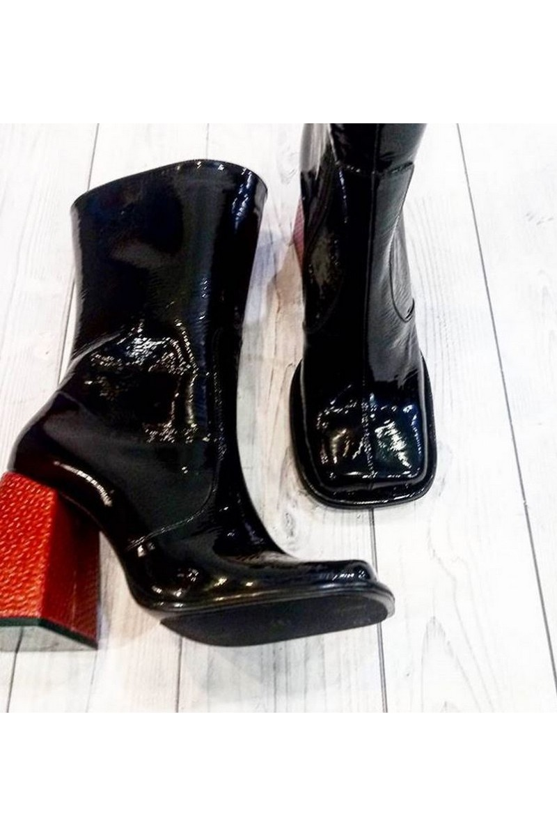 Buy Black patent leather heel boots, square toe square red heel designer boots