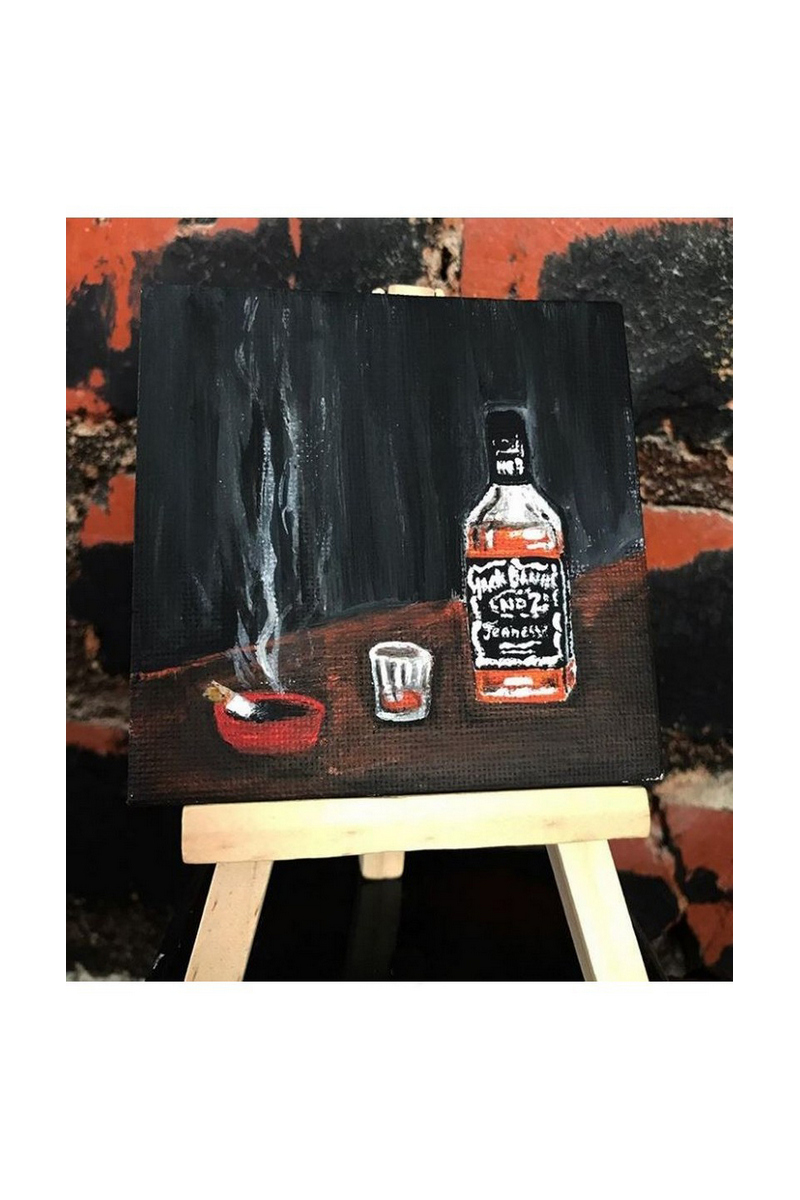 Buy Jack daniels acrylic mini canvas, Men's gift, For him, gift for women men, painting contemporary american artists
