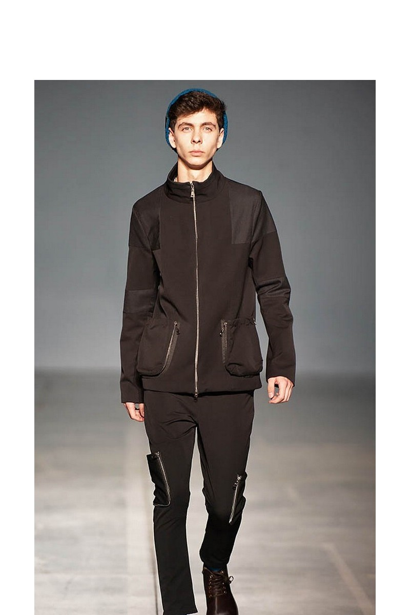 Buy Men`s casual black stylish costume, Wool zipper warm party spring designer suit