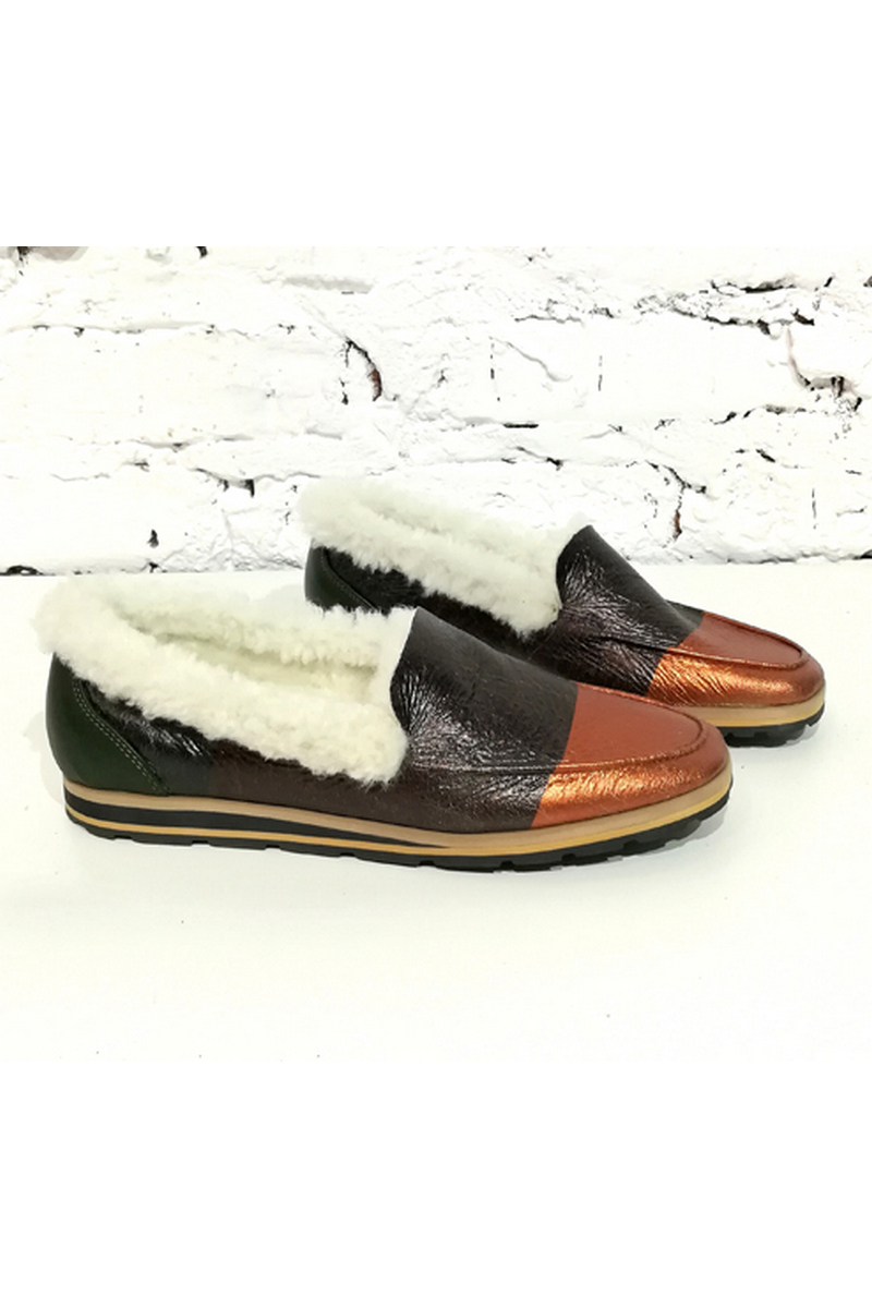 Buy Stylish soft women`s comfortable loafers moccasin leather fur flat sole round toe large tread