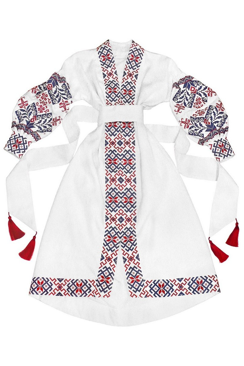Buy White linen original unique authentic traditional Ukrainian embroidery vyshivanka dress