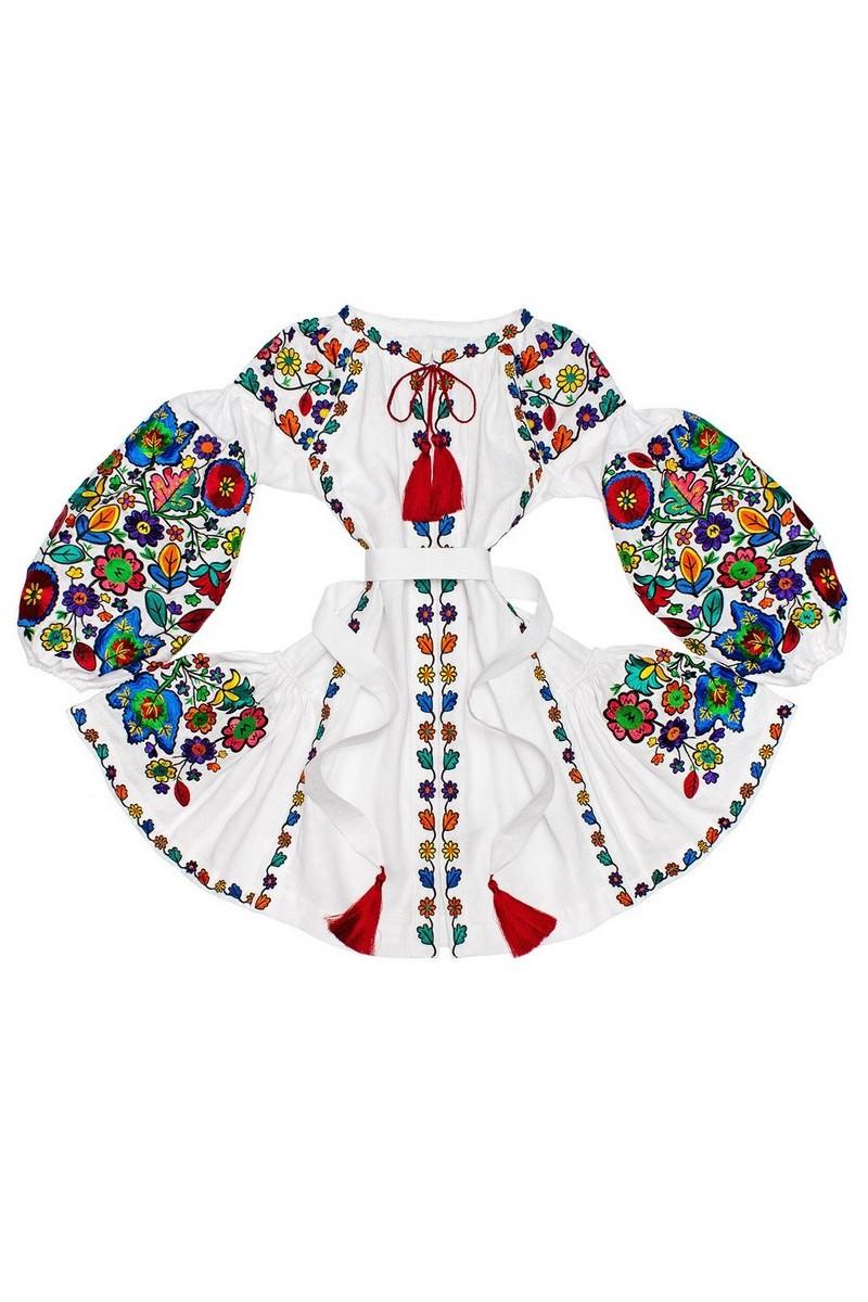 Buy White short linen comfortable ukrainian boho hippie style vyshivanka embroidered dress