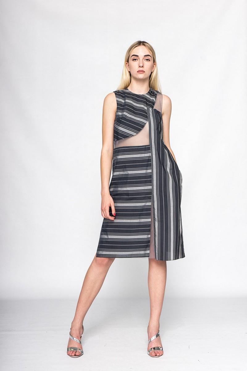 Buy Summer silk elegant striped original sleeveless dress, Сomfortable pocket ladies dress