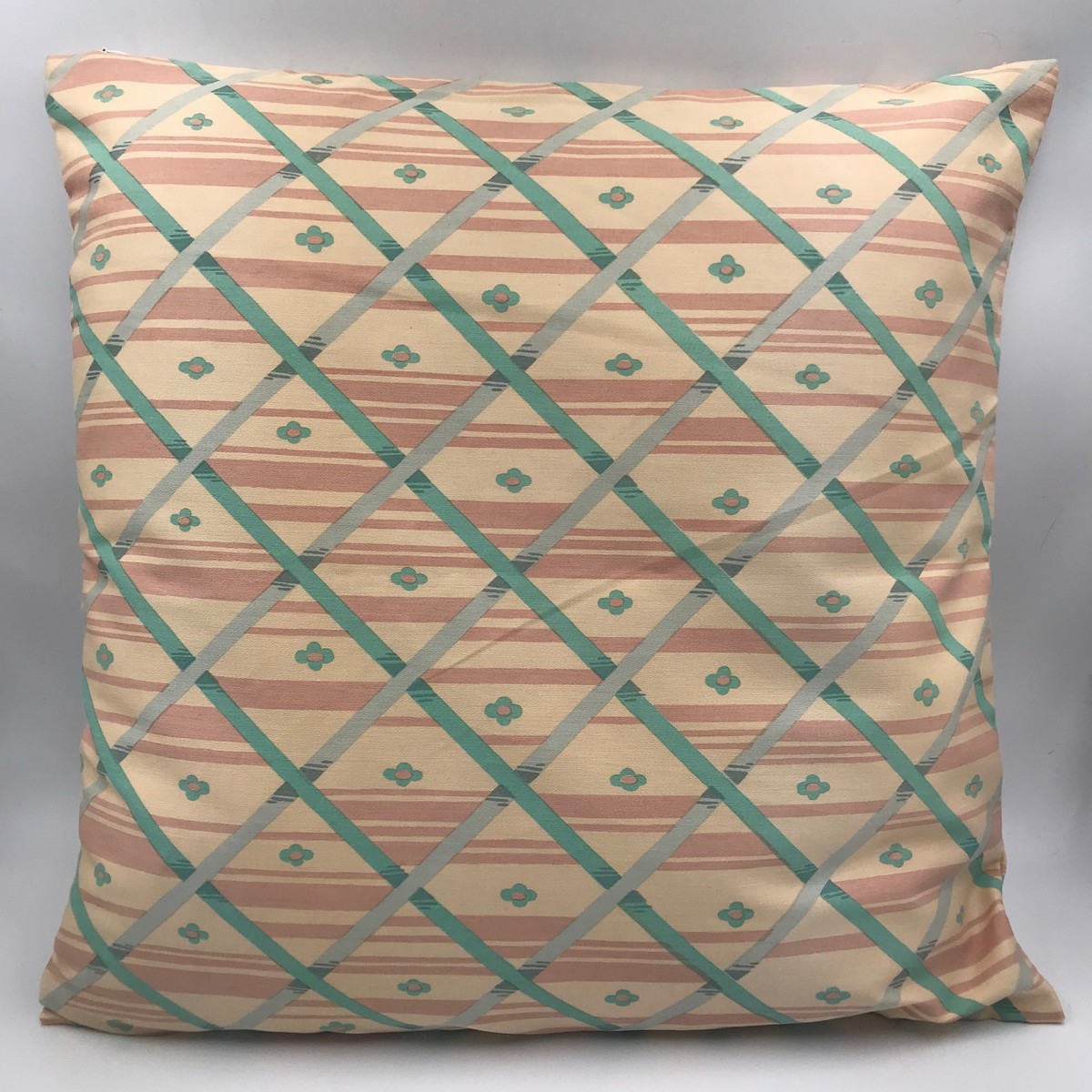 Buy Handmade square vintage retro style pillow, Сotton style 60s pillow, Сraftsman's cushion cover, Hand made decorative pillow