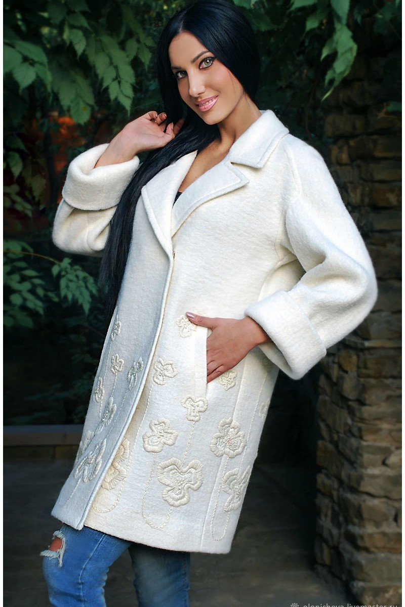Buy Light wool coat milk handmade embroidery, elegant, exclusive classic, elegant coat