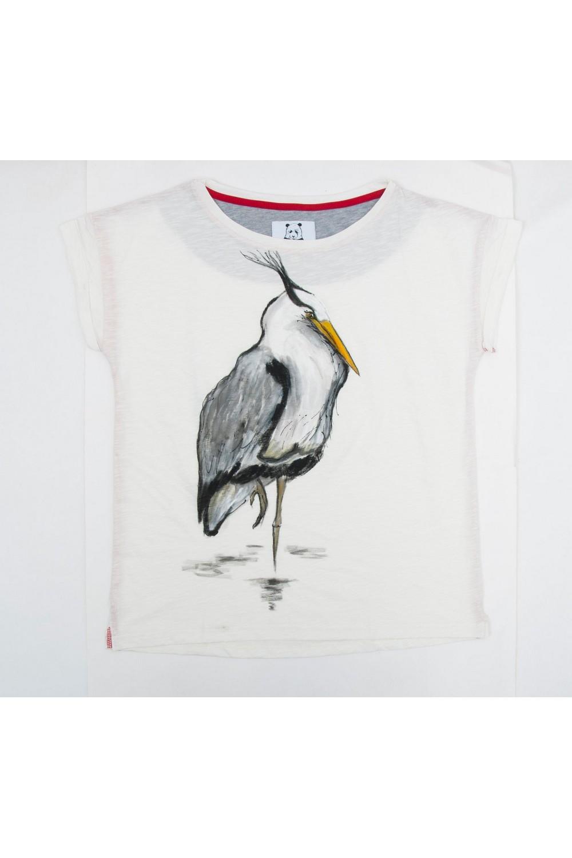 Buy Comfortable summer white women`s cotton print sleeveless tee shirt , Bird tshirt, Unique stylish t shirt
