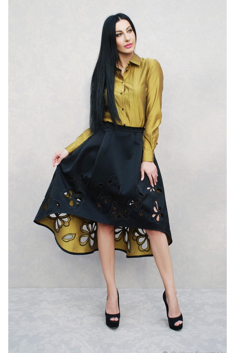 Buy Elegant black gold women embroidered linen cotton designer unique costume