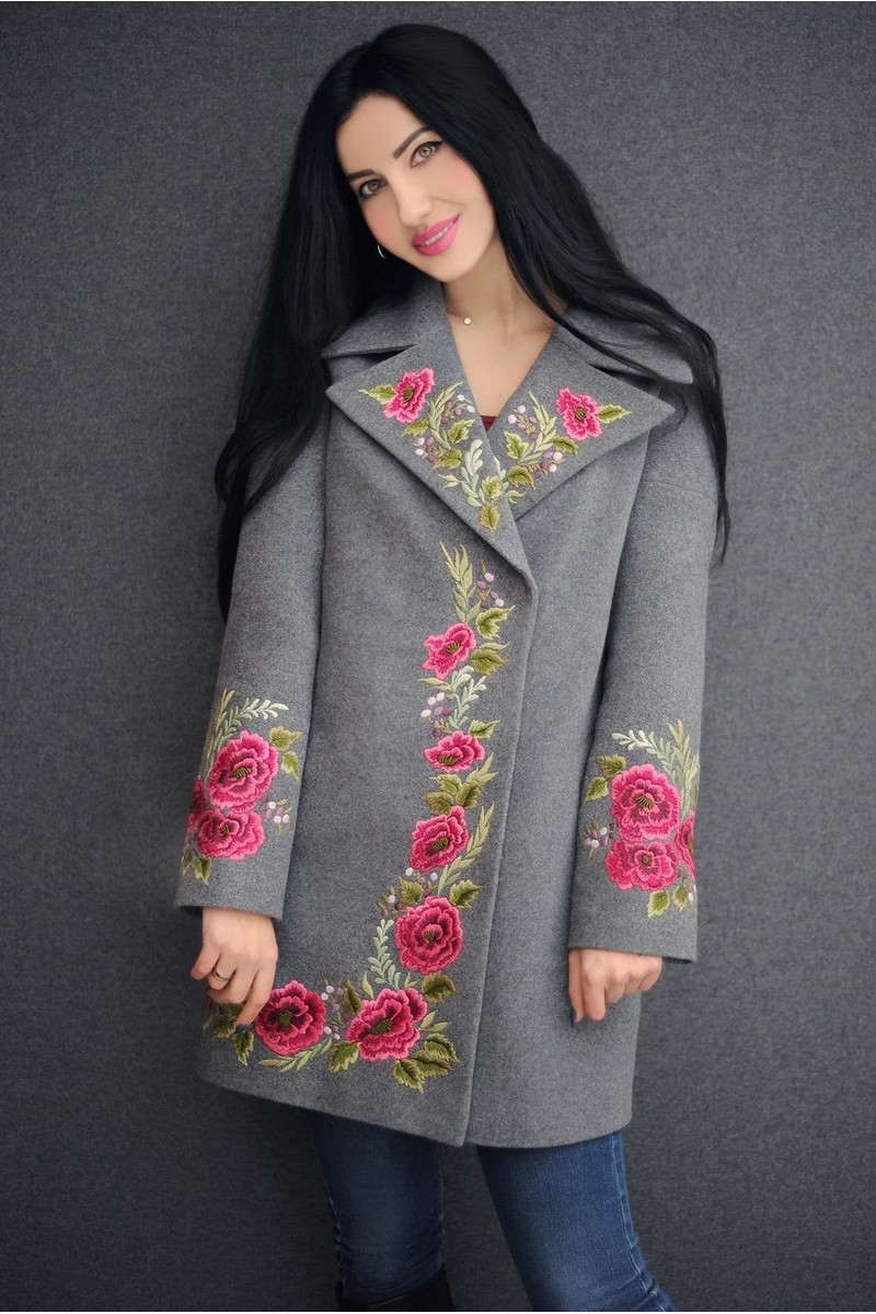Buy Warm Fall Winter Grey wool cashmere handmade embroidery jacket, Everning Casual coat