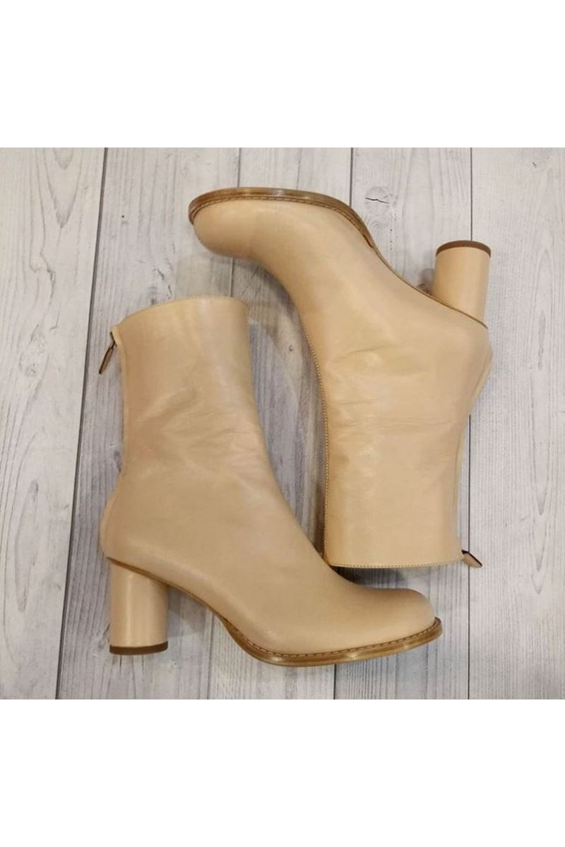 Buy Beige Leather Heel Zipper Ankle Boots, Handmade unique shoes