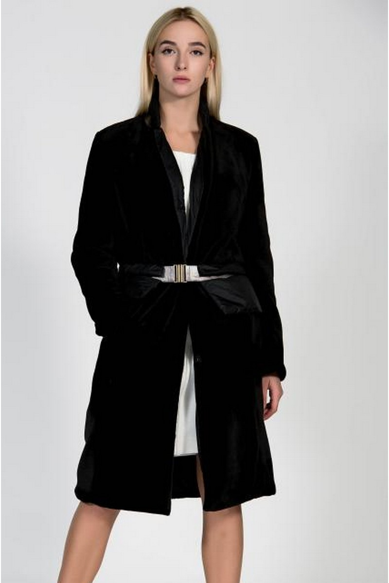 Buy Eco fur black twosided coat, office women stylish comfortable unique designer coat