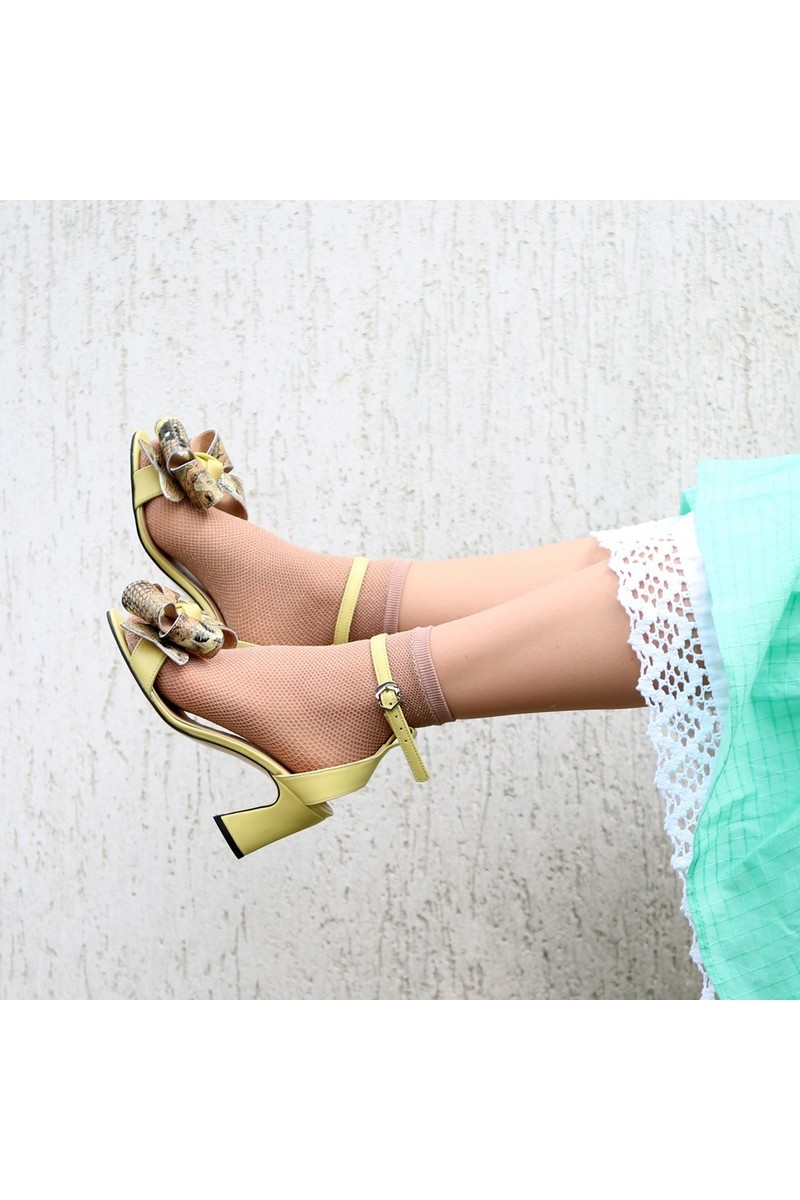 Buy Curly heel yellow leather sandals, detachable bow round toe strap summer shoes