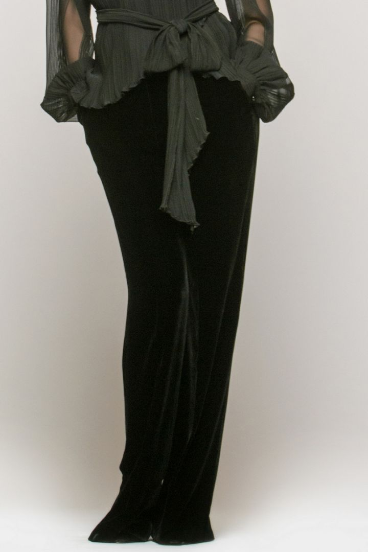 Buy Velor cocktail Black silk women`s trouses, Loose Elegant pants with pockets