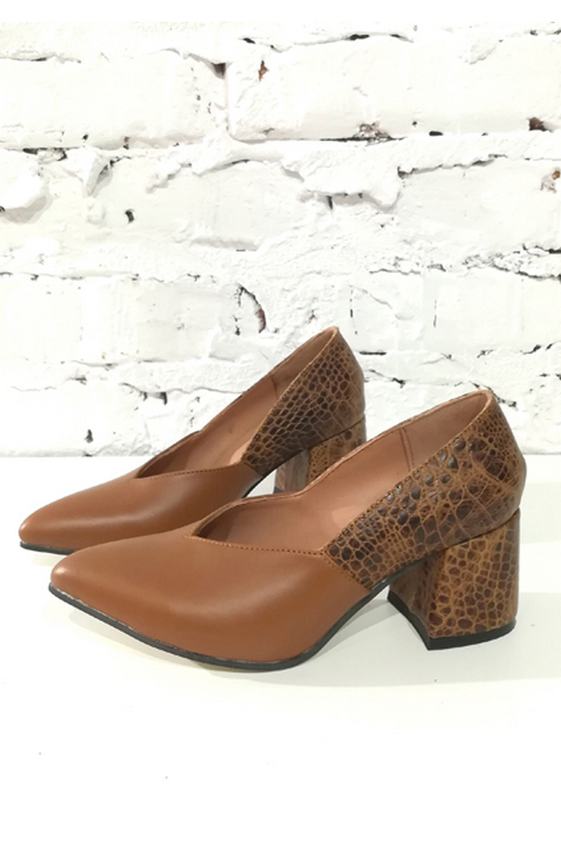 Buy Brown comfortable leather suede women`s high heel geometric neckline shoes, Designer shoes