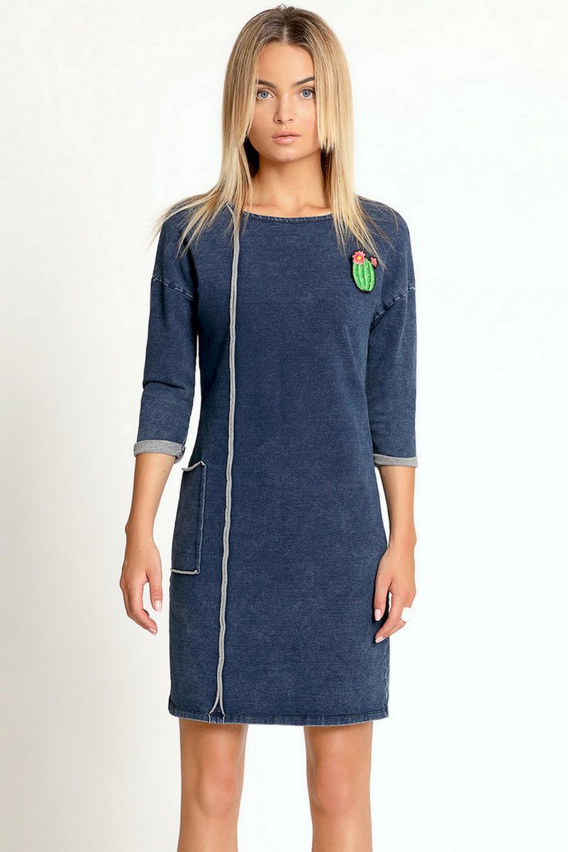 Buy Blue casual cotton knee length dress, stylish designer women spring dress