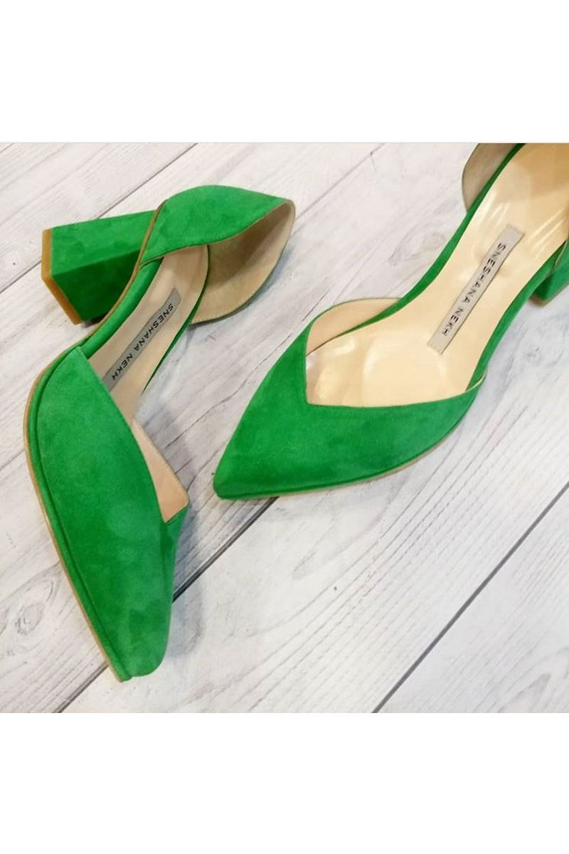 Buy Green Pointed Toe High Heeled Classic Shoes, Suede Party Prom Evening Handmade Shoes