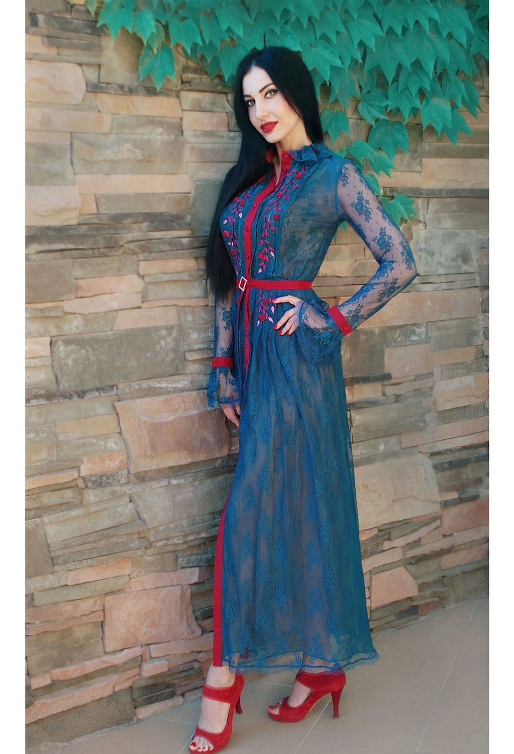 Buy Elegant floor dress with hand embroidery, Original unique long dress, Luxurious guipure dress