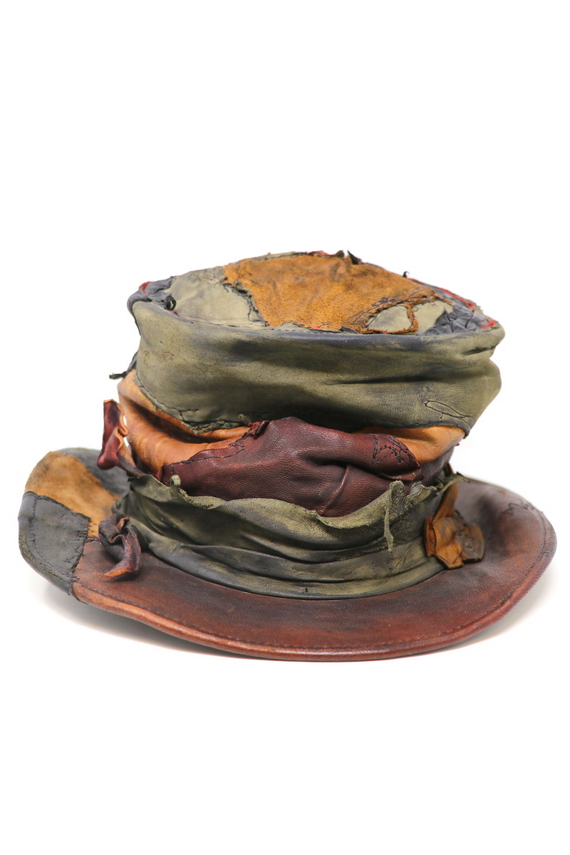Buy Crumpled Crown Leather Top-Hat, Burgundy/Green/Brown stylish men`s hat, Rock Festival accessories