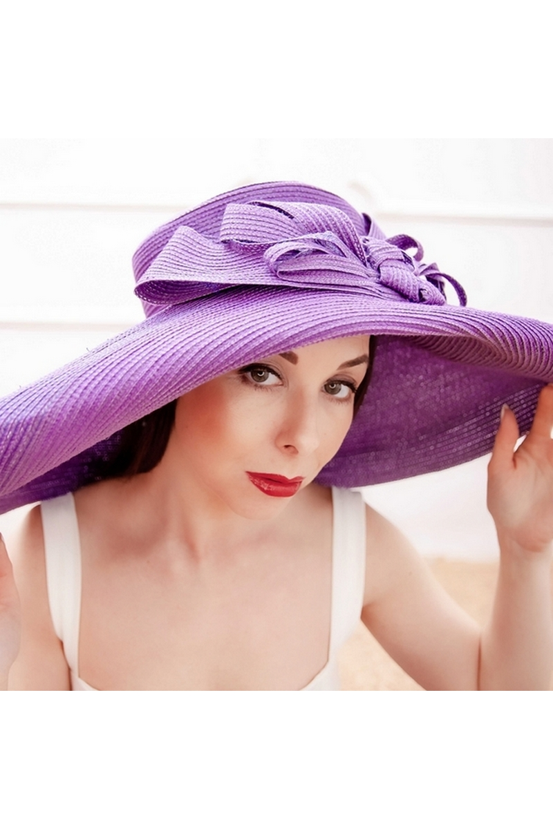 Buy Womens Big Bowknot Straw Hat Floppy Foldable Purple Beach Cap Sun Hat