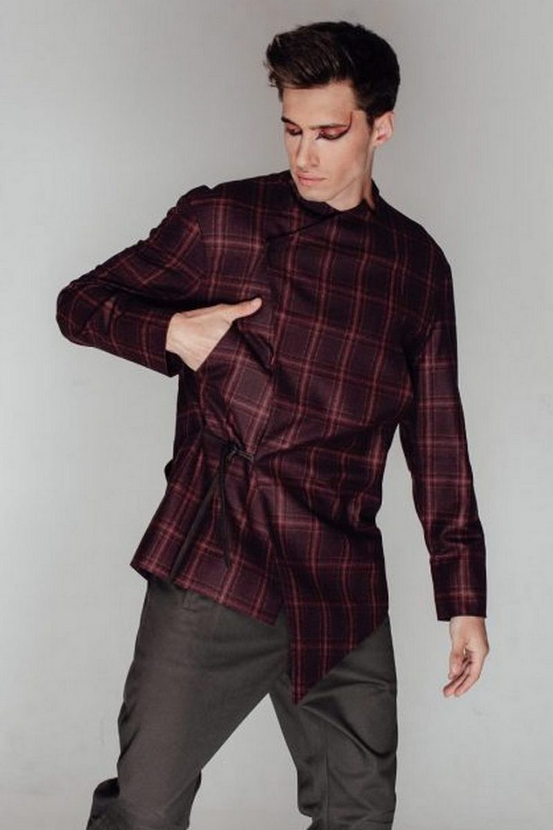 Buy Men`s red checkered button asymmetrical wool jacket with pockets, Gentlemen Business Coats