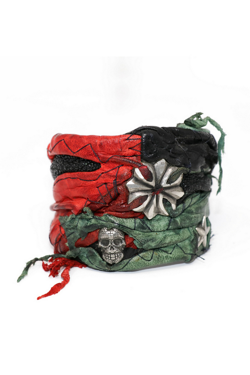 Buy Black Red Rockstar Leather Wristband, Stylish Festive Casual Leather Rock accessories