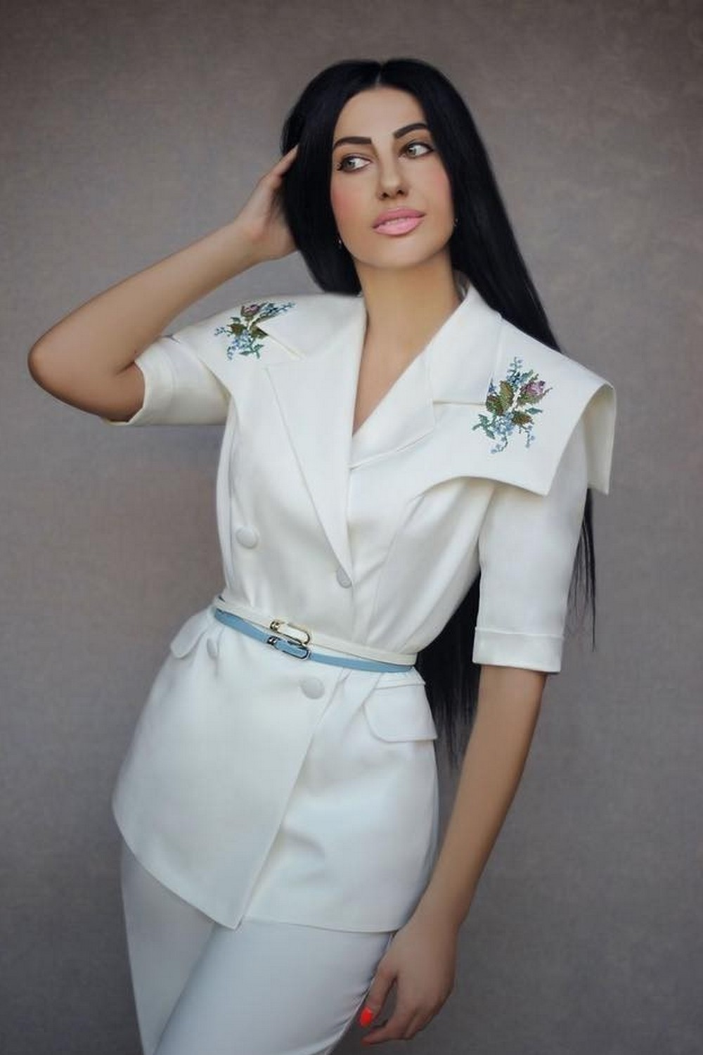 Buy Elegant women's cotton white trouser suit with embroidery, Comfortable summer suit