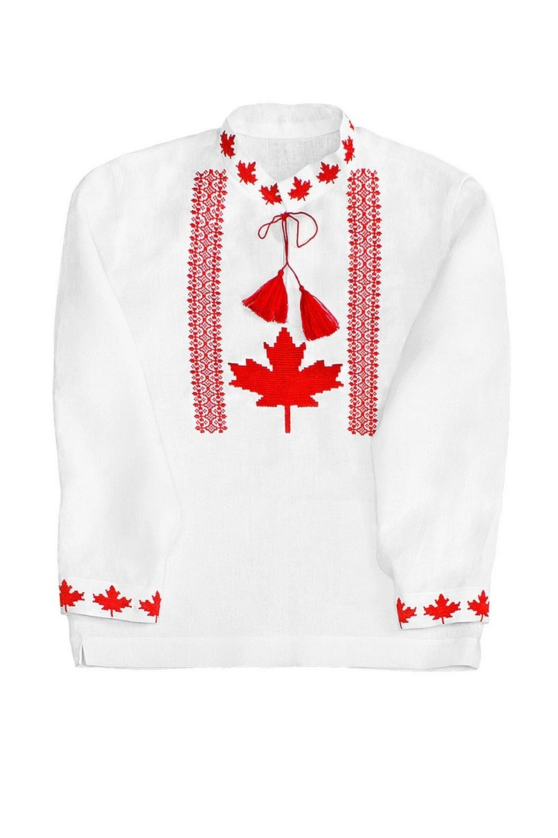 Buy White Linen Men's Сomfortable Embroidered Shirt, Ukrainian unique Сanada vyshivanka