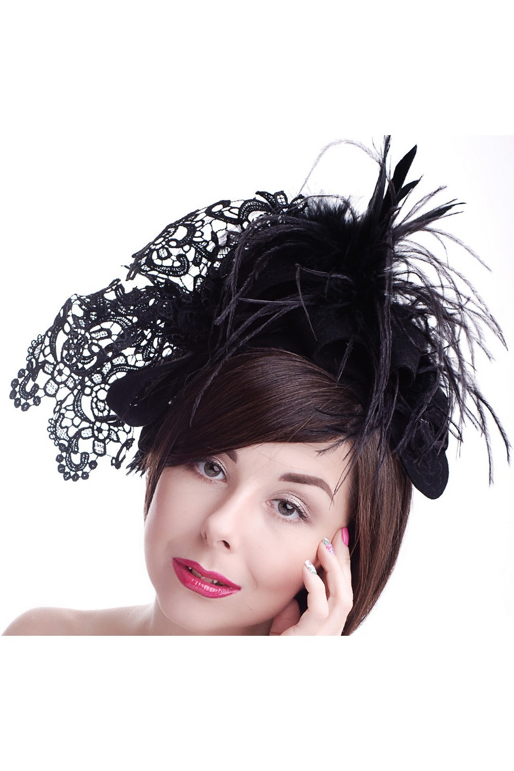 Buy Designer black felt women's lace feather hat in retro style, Unique exclusive designer stylish hat