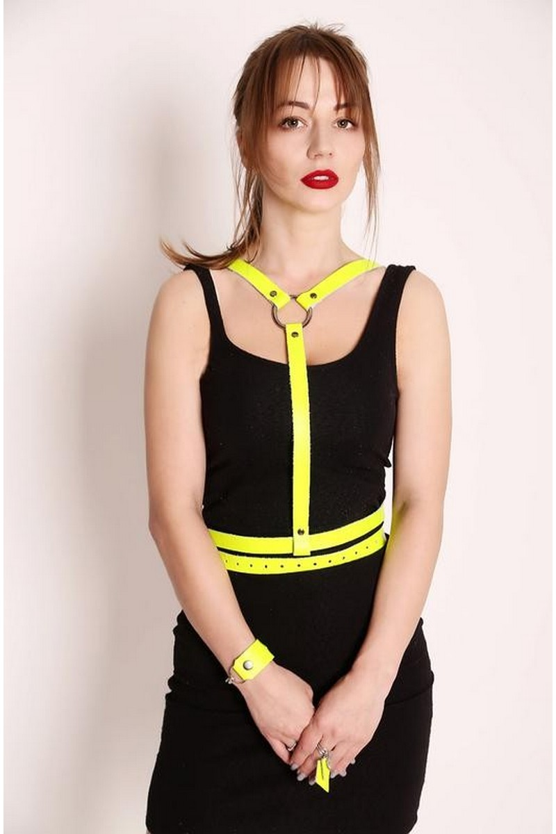 Buy Women's leather Lemon Harness with double belt, Suspenders Waist belt