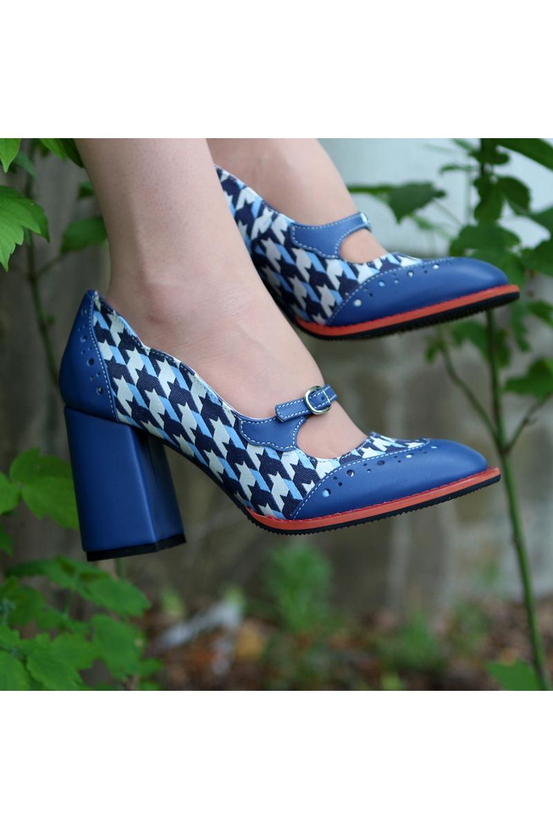 Buy Shoes blue leather heel slim strap, square toe designer handmade women shoes