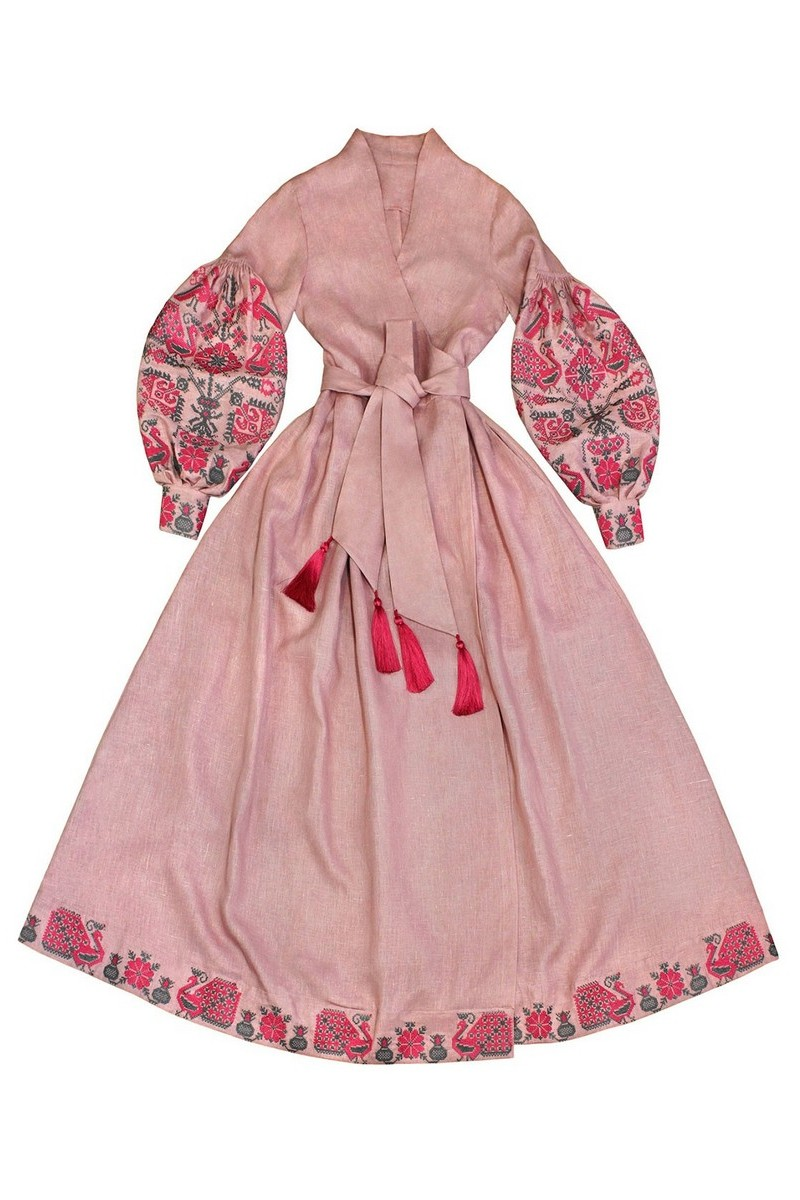 Buy Pink women`s original long linen embroidered vyshivanka ethnic Ukrainian designer dress