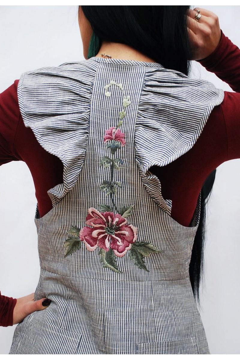 Buy Stylish charming cotton midi embroidery handmade sundress, button pockets sundress