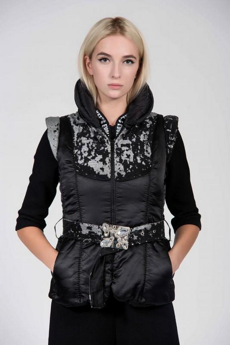 Buy Party festival black stylish vest, warm puffed quilted rhinestones swarovski unique designer vest