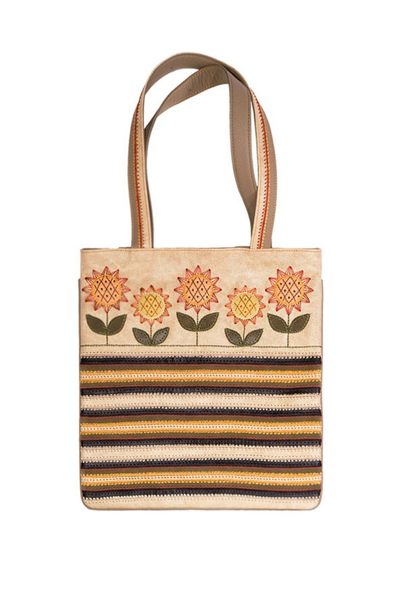 Beige Leather Suede Sunflowers Exclusive Handbag, Unique Women's Casual bag