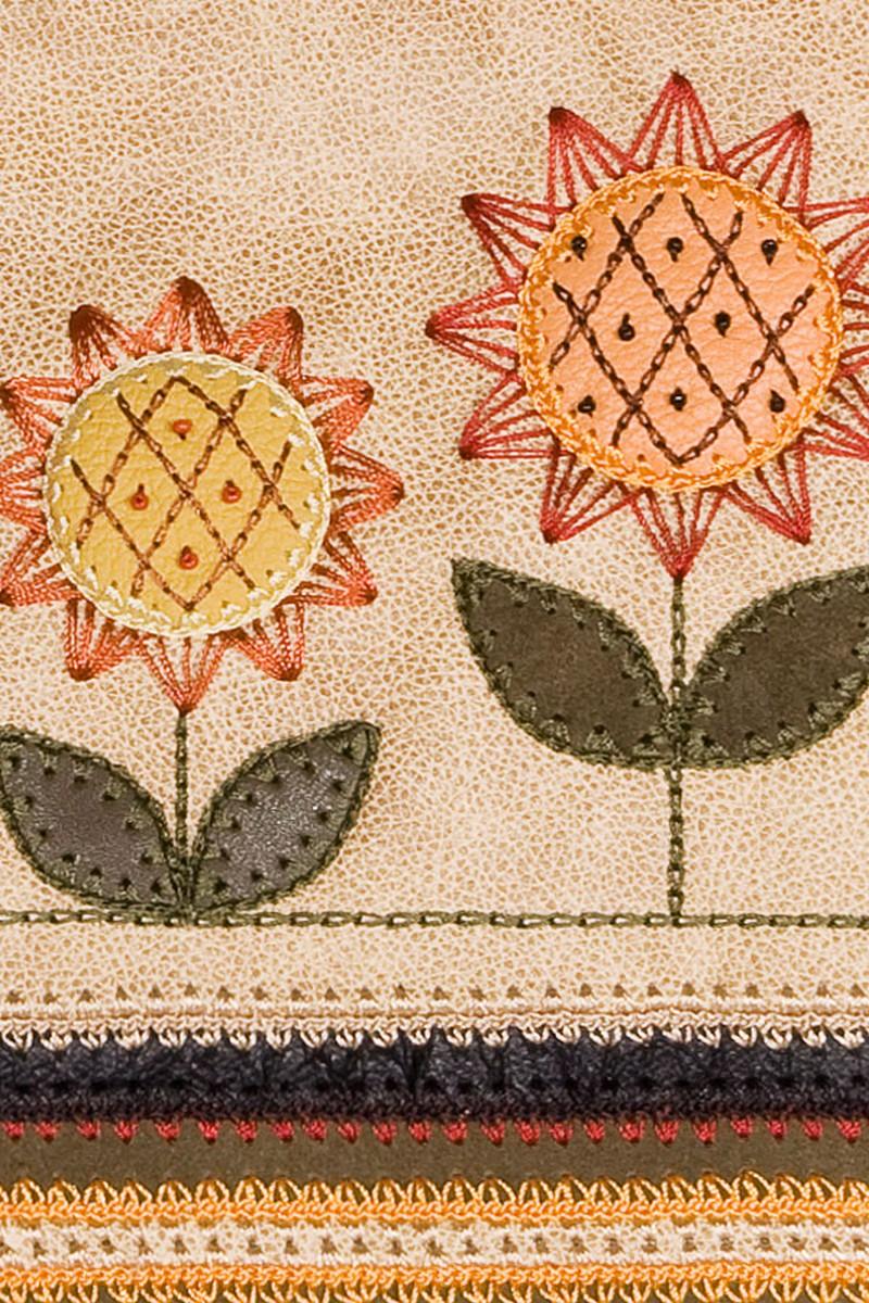 Beige Leather Suede Sunflowers Exclusive Handbag, Unique Women's Casual bag