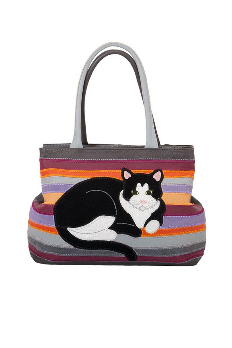 Buy Leather handmade original comfortable women cat Multicolor shopper handbag