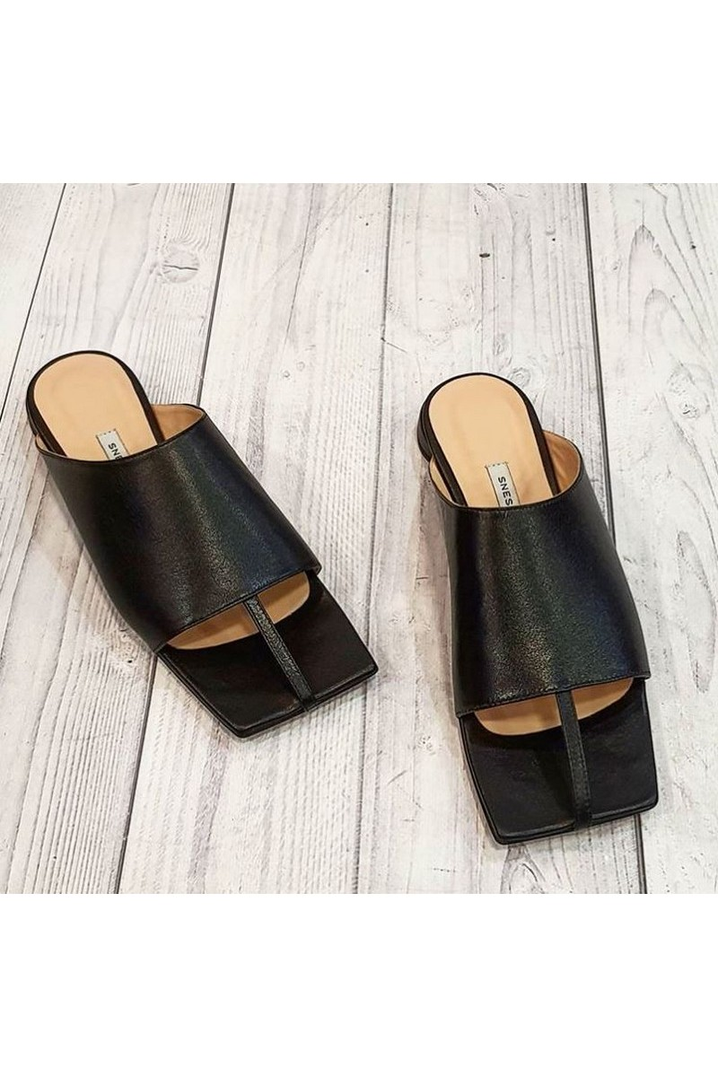 Buy Black Flip-Flops Mules Thong Sandals Square Open Toe for Women Slim Matte Leather Slippers Summer Comfortable for Daily Wear Beach