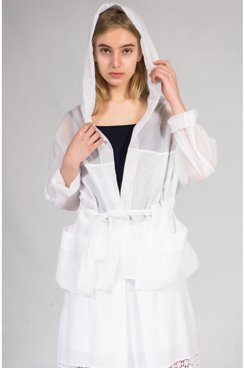Buy White women`s stylish hooded windbreaker coat, Сomfortable casual ladies coat