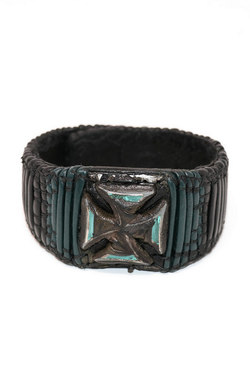 Buy Black Green Illuminating Rockstar Cross Leather Wristband, Stylish Handmade Rock bracelet