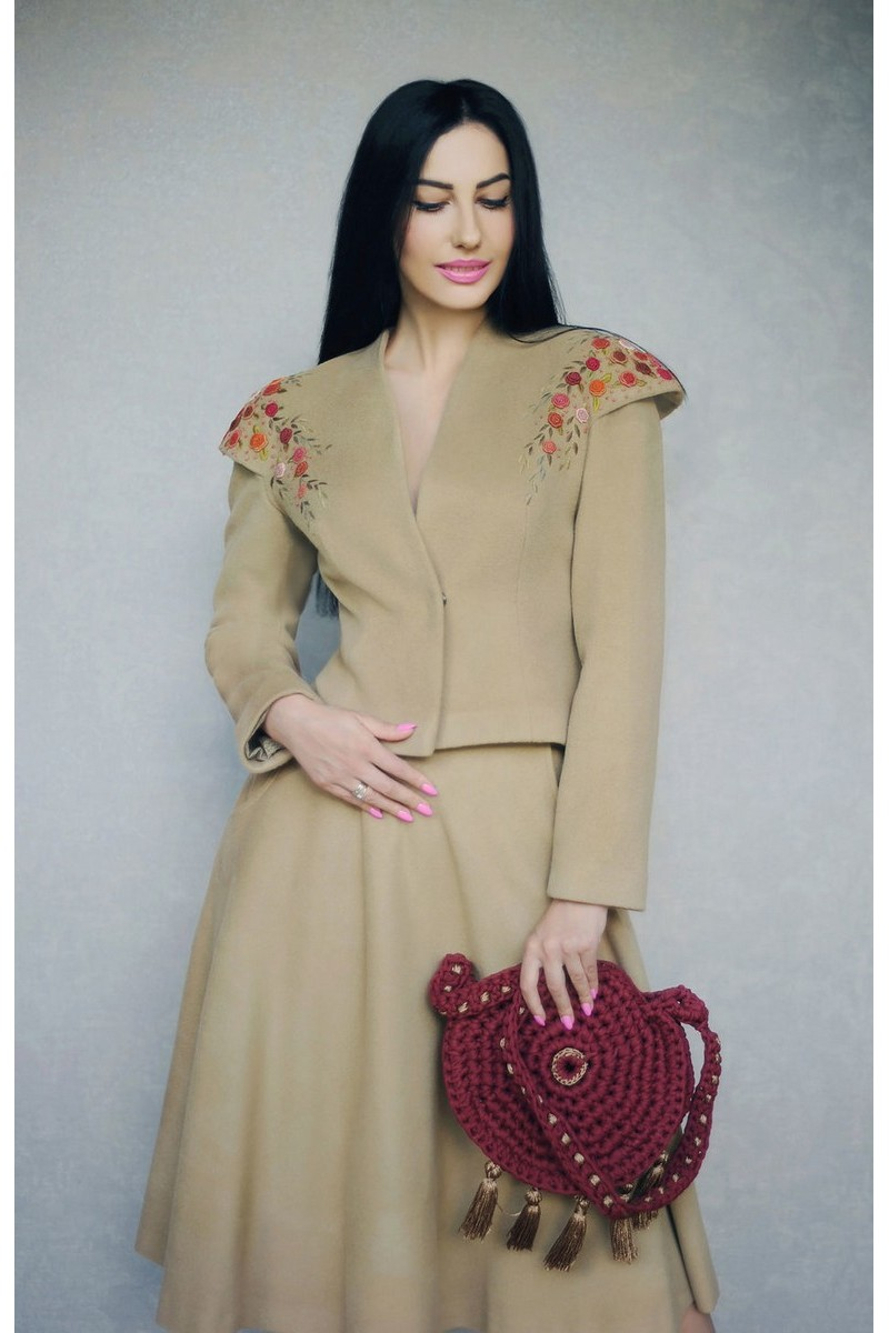 Buy Suit retro beige women`s warm wool cashmere, design 50s suit for ladies