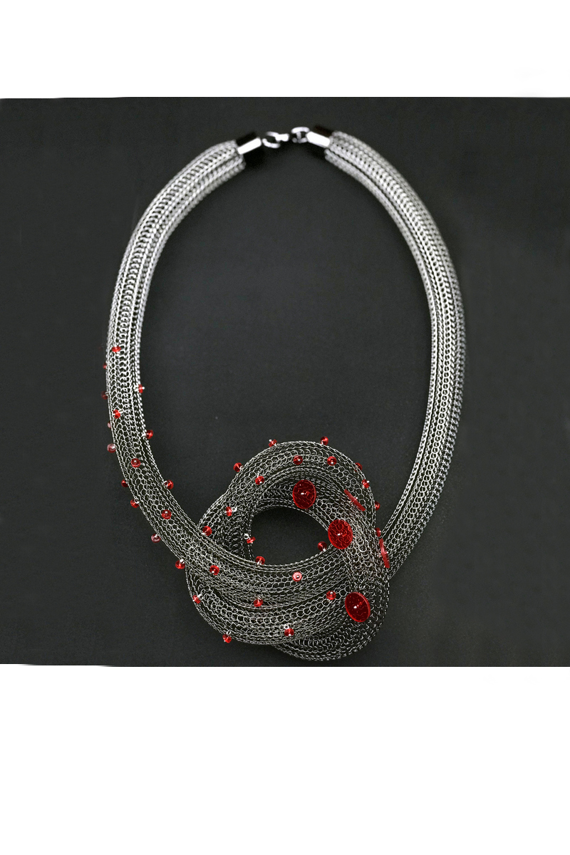Buy Stainless steel wire loops statement contemporary unique handmade necklace