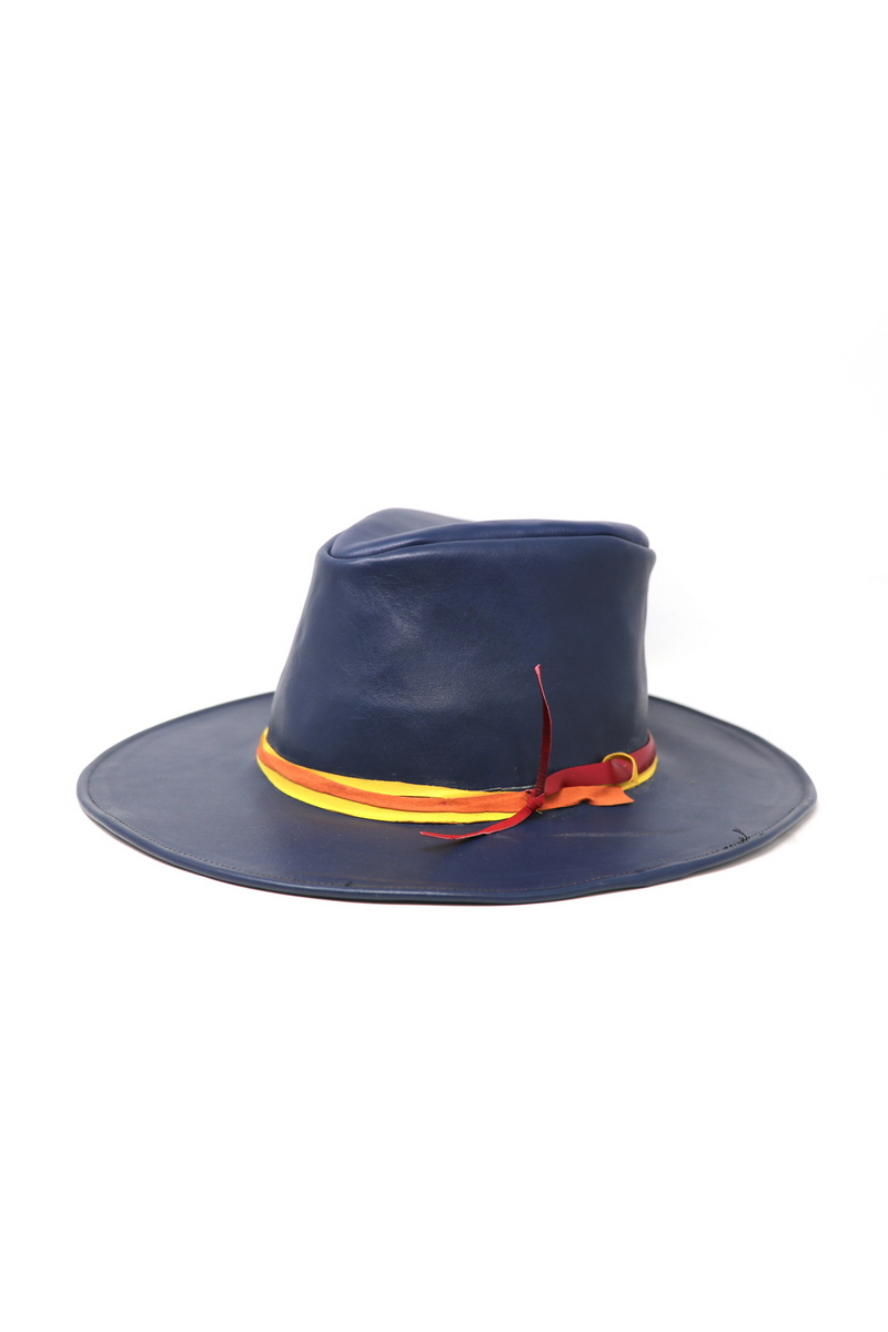 Buy Blue Flat Brim Cowboy Hat, Leather classic western hat, rocknroll accessories