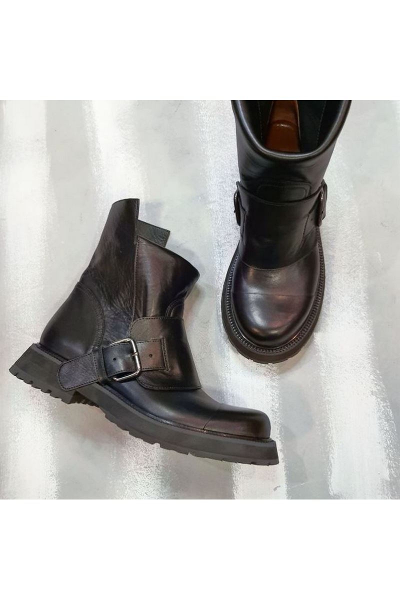 Buy Black Women Leather Boots Fashion Buckle Moto Ankle Booties Designer Comfy Shoes