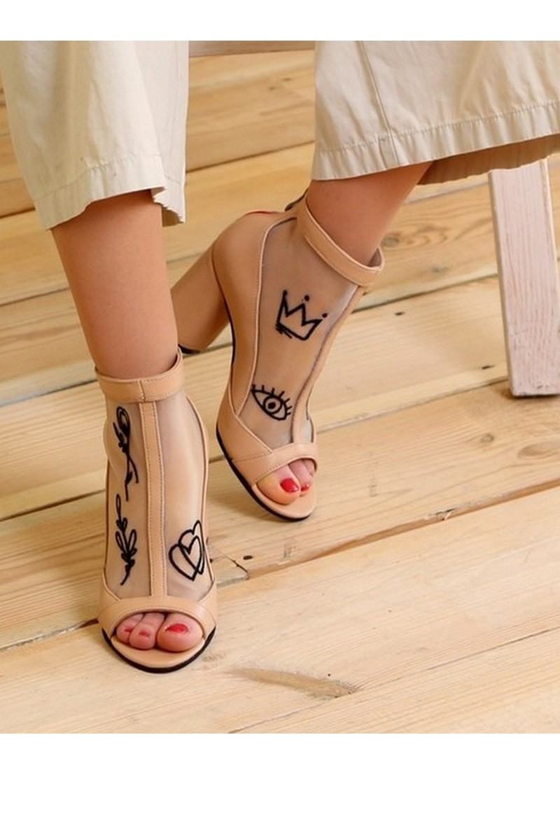 Buy Summer ankle boots mesh leather embroidery beige heel zipper, handmade women shoes